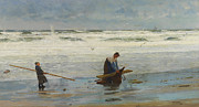 Sandy Beaches Prints - Gathering Driftwood Print by William Lionel Wyllie