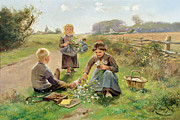 Women Children Metal Prints - Gathering Flowers Metal Print by Joseph Julien
