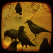 Canvas Crows Prints - Gathering Print by Gothicolors And Crows