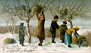 Snowy Trees Paintings - Gathering mistletoe by English School