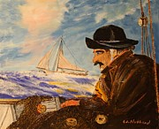 Fishermen Drawings - Gathering Storm by Bill Hubbard