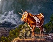 Steer Paintings - Gathering Storm by J P Childress
