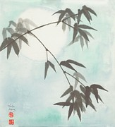 Sumie Posters - Gathering the Moon Poster by Marilyn Allysum