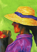 Woman In Hat Posters - Gathering Tomatoes Poster by Stephen Anderson