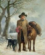 Donkey Paintings - Gathering Winter Fuel  by John Barker