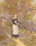Chore Framed Prints - Gathering Wood for Mother Framed Print by Helen Allingham
