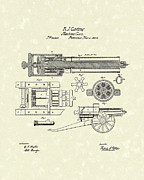 Weapon Drawings Framed Prints - Gatling Machine Gun 1862 Patent Art Framed Print by Prior Art Design