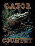 Reptiles Painting Prints - Gator Country Print by JQ Licensing