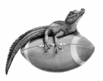 Football Drawings Framed Prints - Gator Football Framed Print by Murphy Elliott