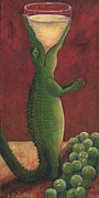 Wine And Art Posters - Gator Grigio Poster by Debbie McCulley