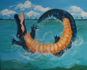 Alligator Paintings - Gators Just Wanna Have Fun by Adriane Pirro