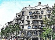 Barcelona Mixed Media Prints - Gaudi Print by Marta Budka