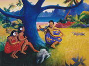Moorea Paintings - Gauguins Cat--Toru Potii by Eve Riser Roberts