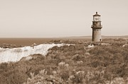 Martha Prints - Gay Head Lighthouse - Sepia Print by Carol Groenen