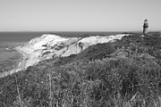 White Lighthouse Prints - Gay Head Lighthouse with Aquinna Beach Cliffs - Black and White Print by Carol Groenen