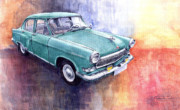 Vatercolour Paintings - GAZ 21 Volga by Yuriy  Shevchuk