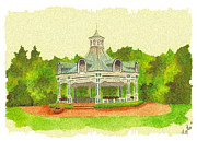 Gazebo Painting Prints - Gazebo - Mill Creek Park Print by Michael Vigliotti