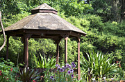 Landscapes Pyrography Originals - Gazebo by the Garden by Christian Griffin