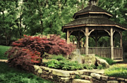 Fall Colors Digital Art Originals - Gazebo in the Fall by Mary Timman