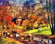 Swans Art - Gazebo in the Park by Jai Johnson