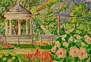 Benches Paintings - Gazebo by Jame Hayes