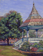 New England Village  Paintings - Gazebo New Boston by Ken Fiery