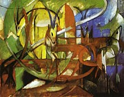 Semi Abstract Paintings - Gazelles by Franz Marc