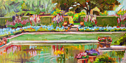 Impressionistic Paintings - Gazing Pond      plein air by Marie Massey