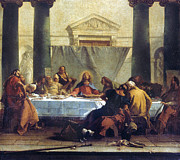 Jesus Art Painting Framed Prints - G.b. Tiepolo: Last Supper Framed Print by Granger