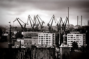 Cranes Photo Framed Prints - Gdansk Shipyard Framed Print by Olivier Le Queinec