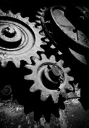 Gearing Photo Framed Prints - Gearing Up - Industrial Abstract Framed Print by Steven Milner