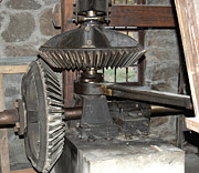 Wayside Inn Grist Mill Prints - Gears of the Old Grist Mill Print by John Small
