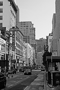 Geary Boulevard Framed Prints - Geary Boulevard San Francisco . Black and White Photography 7D7348 Framed Print by Wingsdomain Art and Photography
