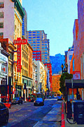 Big Cities Digital Art Prints - Geary Boulevard San Francisco Print by Wingsdomain Art and Photography