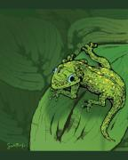 Gecko Posters - Gecko on a Leaf Poster by Scott Rolfe