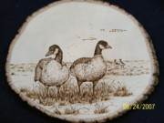 Geese Pyrography - Geese Couple on Basswood by Adam Owen