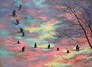 Geese Paintings - Geese Flying At Sunrise by Tom Greenslade