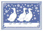 Illustrative Framed Prints - Geese with Holly and Mistletoe Framed Print by Alice Turner