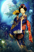 Feminine Acrylic Prints - Geisha - Combining innocence and Sophistication Acrylic Print by Christine Till - CT-Graphics