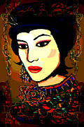 Hairstyle Mixed Media Posters - Geisha 5 Poster by Natalie Holland