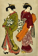 Japanese Performers Photos - Geisha and Servant with Koto 1777 by Padre Art