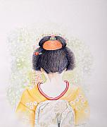 Netting Prints - Geisha blossoms Print by Veena Waziri