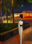 Clarke Paintings - Geisha by the Quay by Claire Wentzel