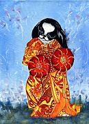 Japanese Chin Framed Prints - Geisha Chin Framed Print by Kathleen Sepulveda