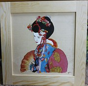 Pyrographic Originals - Geisha Floral Framed Pyrographic Original Wood Panel by Pigatopia by Shannon Ivins