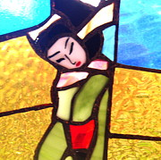 Primitive Ceramics Metal Prints - Geisha in doorway Metal Print by Patricia Lazar