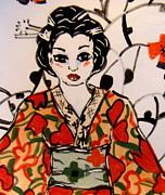 Red Art Ceramics Prints - Geisha in training Print by Patricia Lazar