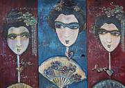 Pop Surrealism Paintings - Geisha Love Triptych by Laurie Maves