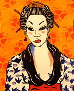 Orange Art Ceramics Posters - Geisha No. 1 Poster by Patricia Lazar