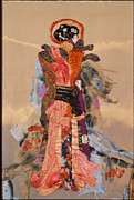 Warm Tapestries - Textiles Metal Prints - Geisha Metal Print by Roberta Baker